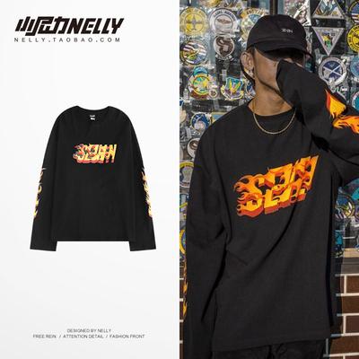 韩国高街复古街头嘻哈黑色 拼接宽松英文长袖T恤男女情侣打底衫