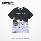 韩国INS同款复古太空嘻哈日系未来宇宙星空半袖男女短袖T恤衣服