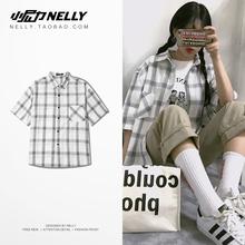 衬衫 18ss男女款 复古经典 嘻哈潮牌日系韩国INS同款 小格纹格子短袖图片