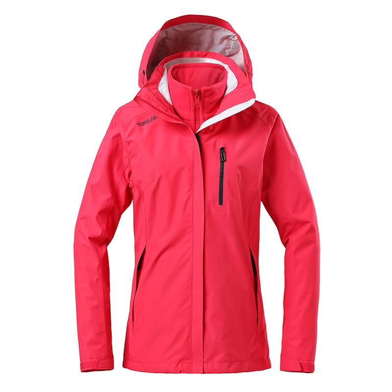 探路者外套女装2020春季新款户外运动外套三合一冲锋衣TAWH92201