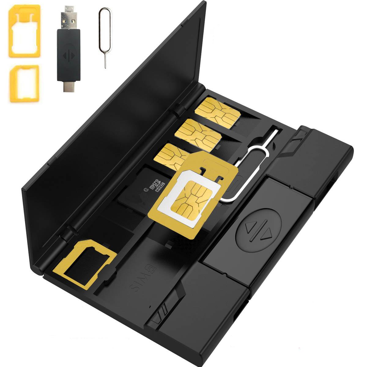 sim卡卡套还原卡盒手机nano卡托卡槽SD卡收纳器手机支架usb3.0