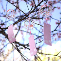 Japanese Japanese style glass cherry blossom wind chime bell creative bedroom pendant meditation summer and wind ornaments door decoration girls