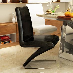 马氏皇庭 简约时尚不锈钢餐椅 鳄鱼皮革黑白椅 休闲舒适靠背凳子
