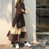 卫衣裙长款过膝女装秋季2018新款宽松拼接百褶初恋裙复古连衣裙