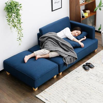 北歐簡約現代日式沙發椅子貴妃榻布藝L組合雙三人小戶型客廳躺椅正品折扣