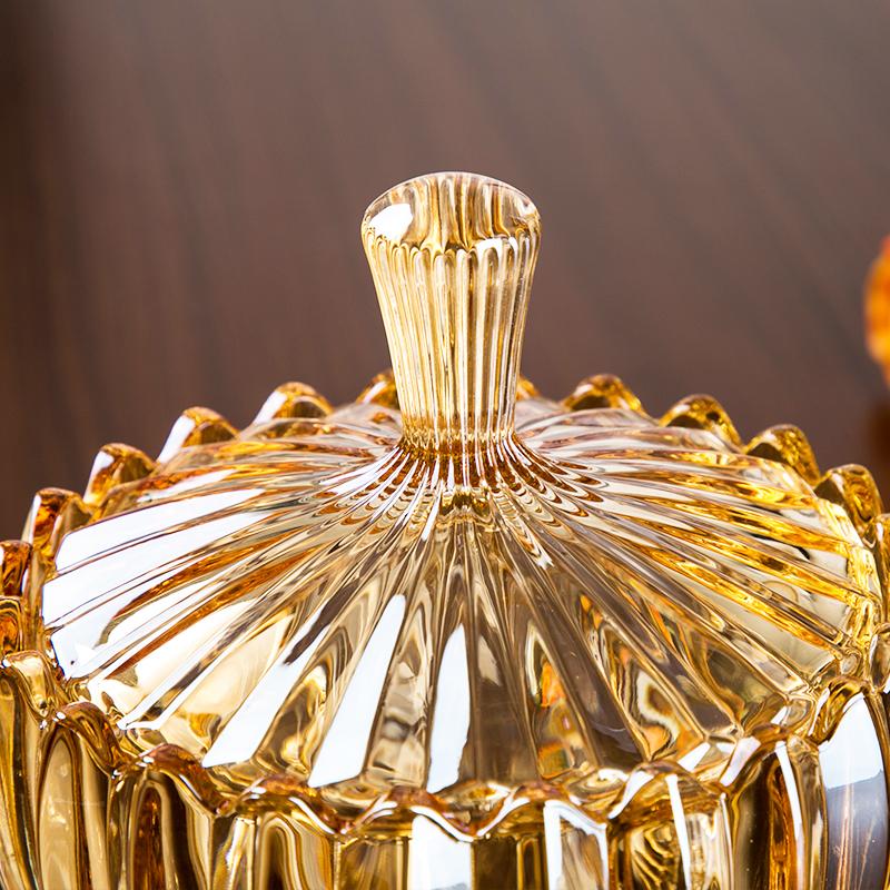 欧式金色高脚玻璃糖罐 创意现代 简约 客厅干果零食瓜果糖缸带盖