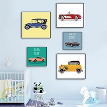 现代儿童房装饰画老爷车挂画北欧客厅墙画书房挂画防水无框版画