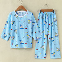 Summer cotton children's pajamas set cotton silk big boy boys girls children baby pajamas thin section home service