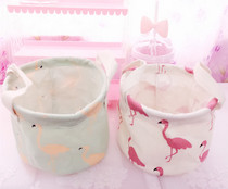 INS Wind tropical Flamingo desktop Other storage basket Cotton Hemp Waterproof frame with handle limited time free of mail