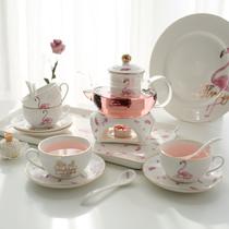 韩国火烈鸟花茶壶套装玻璃煮水果茶壶陶瓷茶具家用蜡烛加热茶套装