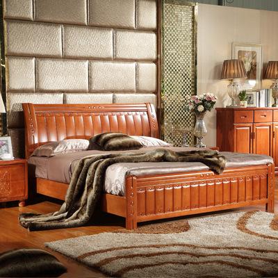 特价全实木床橡木床单人床双人床成人床类儿童床实木单人床1.51.8618大促