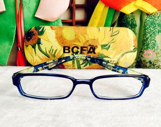 韩国学生眼镜框方框透明蓝色时尚花纹全框10-16岁青少年配镜平光
