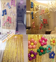Golden Silver Rain Curtain balloon Birthday Party concert field stage background wall New Year decoration supplies fringed
