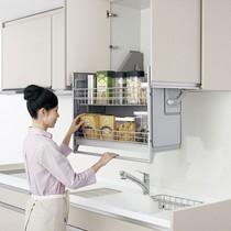 不锈钢阻尼调味拉篮双层碗碟篮304厨房橱柜拉篮加厚悍高HIGOLD