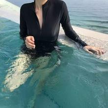 韩国潜水服女连体泳衣长袖防晒拉链水母衣浮潜服显瘦冲浪服游泳衣