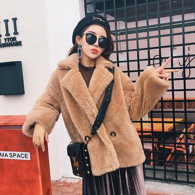 羊剪绒大衣女短款2018新款韩版冬装颗粒羊毛皮毛一体皮草外套阔型
