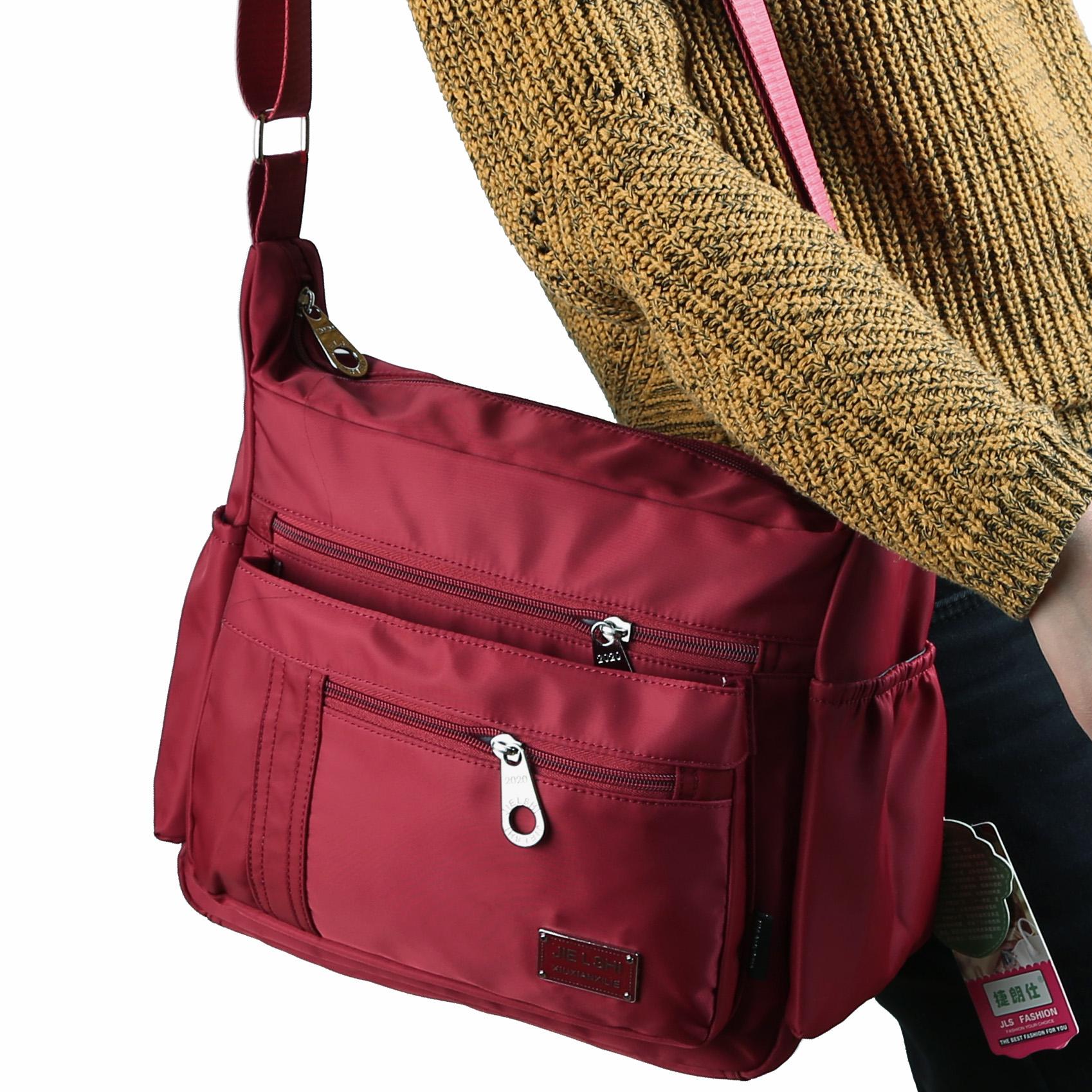 光面尼龙布女包轻便旅游大容量斜跨女包妈妈布包休闲户外防水大包