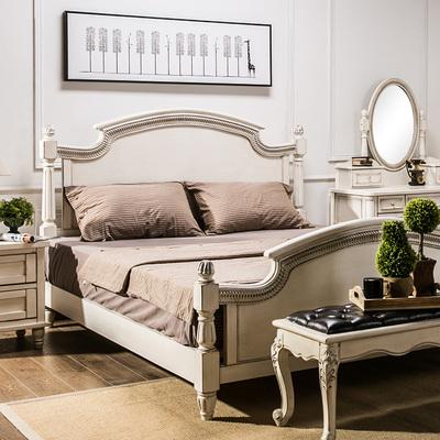 【经典象牙白色做旧】美式乡村样板房别墅家具 1.8米双人床实木床品牌巨惠