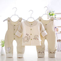 Baby spring and autumn winter cotton thin cotton three-piece baby plus cotton front buckle cotton double strap trousers suit