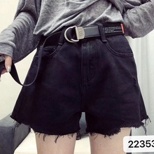 New European-made Korean Jeans Shorts Female Summer New High-waisted Slim Female Korean Broad-legged Hot Pants Female Black