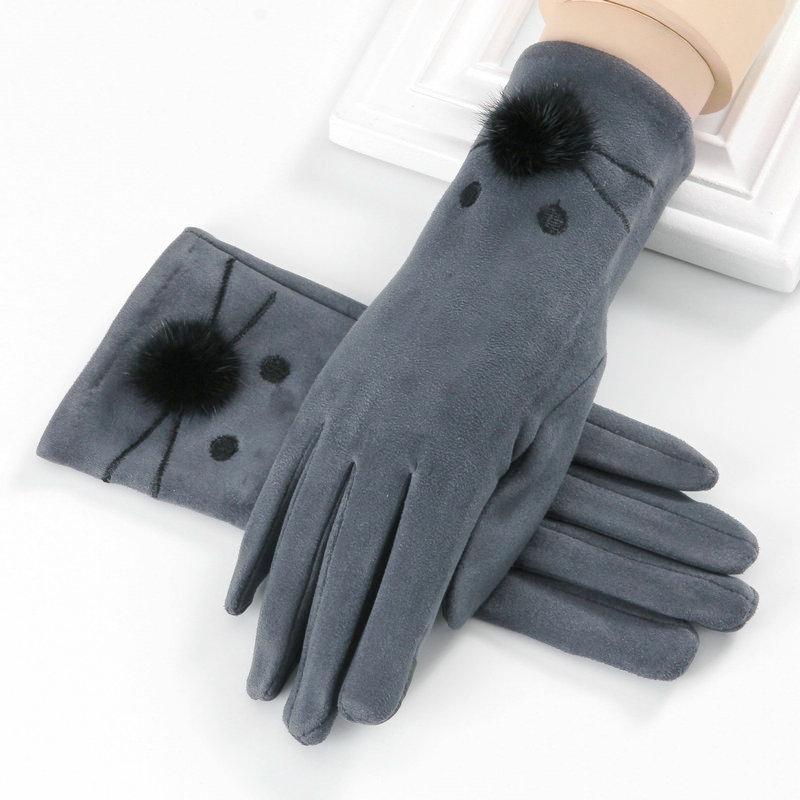 触屏手套女士冬季骑车五指韩版薄款卡通骑行加绒保暖开车甜美可爱