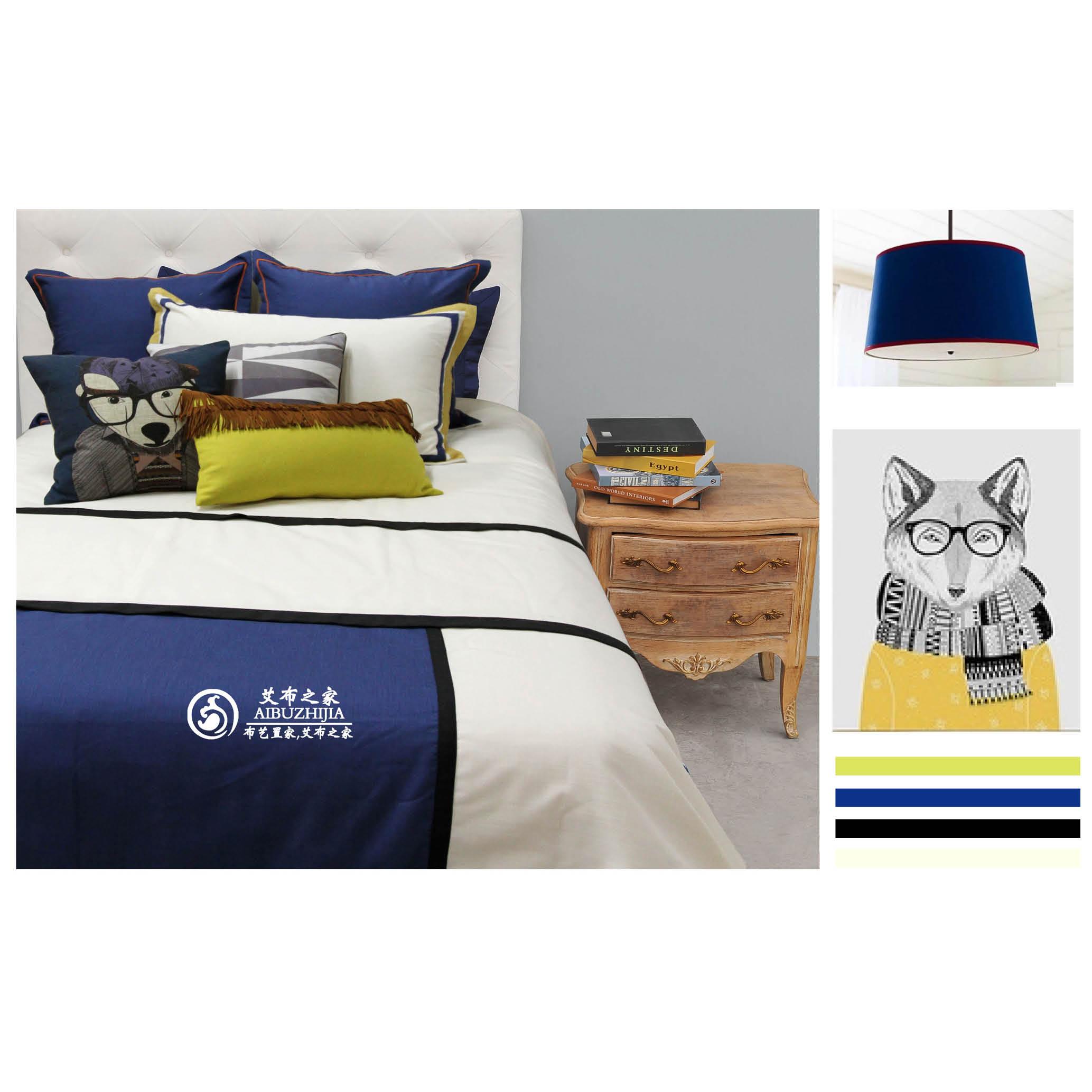 软装样板房床品样板间床品蓝色狗狗儿童床小孩房男孩房床品套件