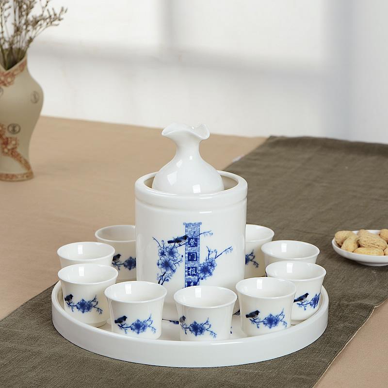 中式青花瓷白酒温酒壶热暖酒器黄酒分酒器烫酒杯陶瓷酒具套装包邮