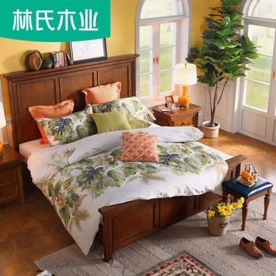 林氏木业美式木床家具1.5m双人床主卧实木框架1.8米大床组合LS037好不好