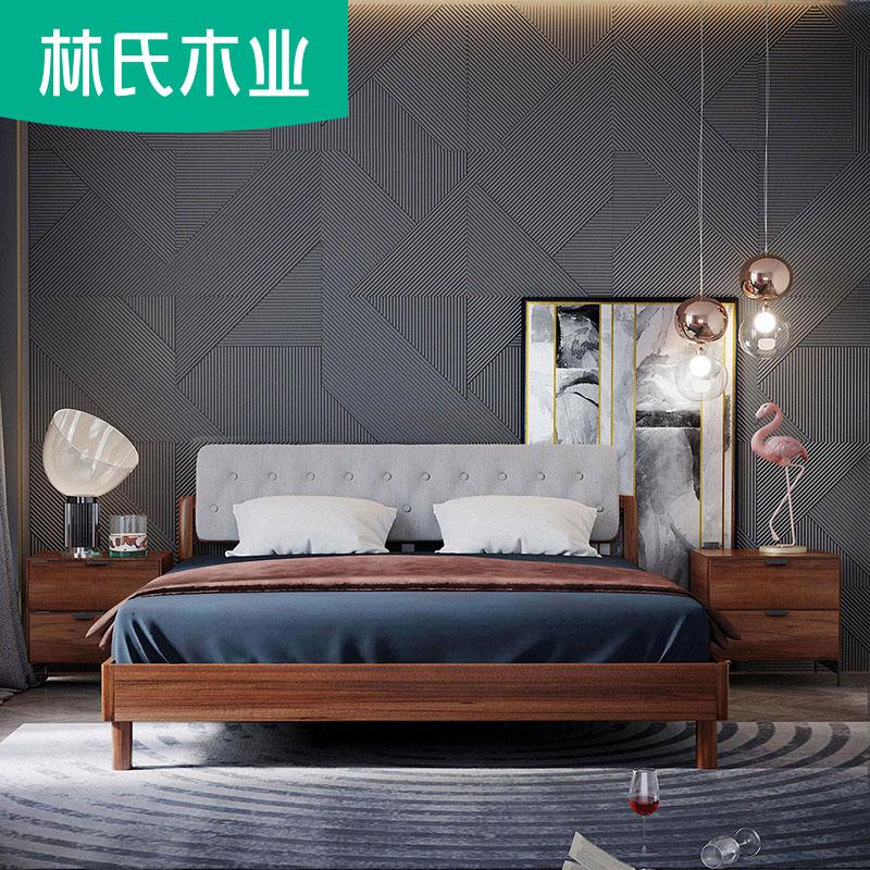 胡桃木色床现代简约储物床1.8m实木经济型北欧双人床家具组合DQ1A