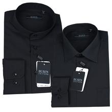 步森衬衫BUSEN步森男式长袖衬衫商务衬衣纯黑色男衬衫正品免烫