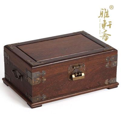 红木鸡翅木双层木质实木仿古饰品 大号首饰盒 婚庆礼品 带锁