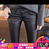 东大门四季款新品韩版紧身自然腰弹力提臀小脚涂层牛仔裤皮裤潮女