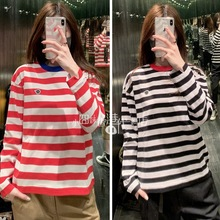 CHOCOOLATE 19 Spring Women's Penguin Mark Colour Stripe Long Sleeve T-shirt 1905