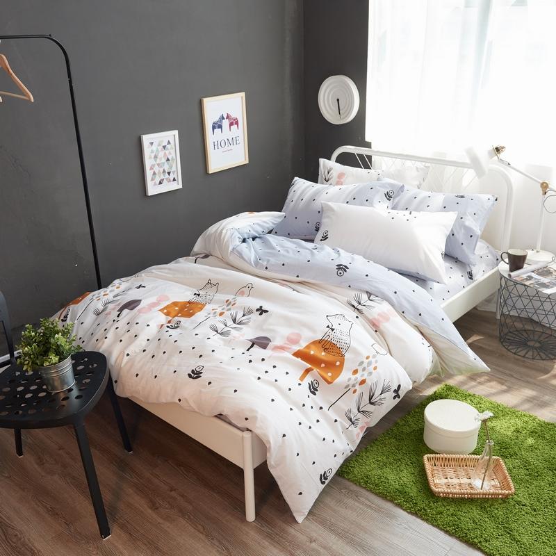 小清新北欧风全棉四件套纯棉卡通床上用品可爱时尚单双人被套床单