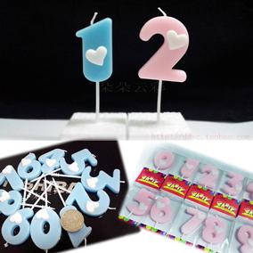 1.5元/个高品质数字蜡烛表面爱心淡粉蓝卡通蛋糕生日520创意表白