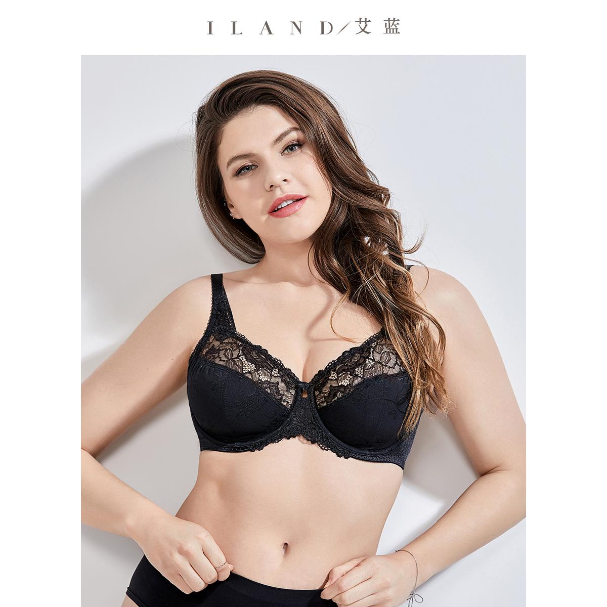 大胸显小文胸超薄款缩胸大码内衣女性感蕾丝防下垂大罩杯胸罩胖mm
