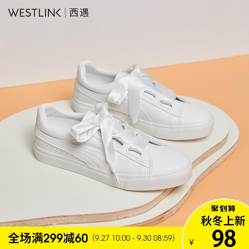 蝴蝶结平底小白鞋