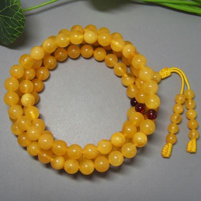天然琥珀老蜜蜡108颗佛珠手链手串 男女款珠宝饰品 国检鉴定证书