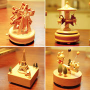 Music Box Music Box Carousel Children's Boutique Wooden Boys and Girls Birthday Creative Valentine's Day Gift