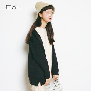 羽迹EAL2017秋冬新款女简约V领长袖针织开衫时尚宽松毛衣外套A239