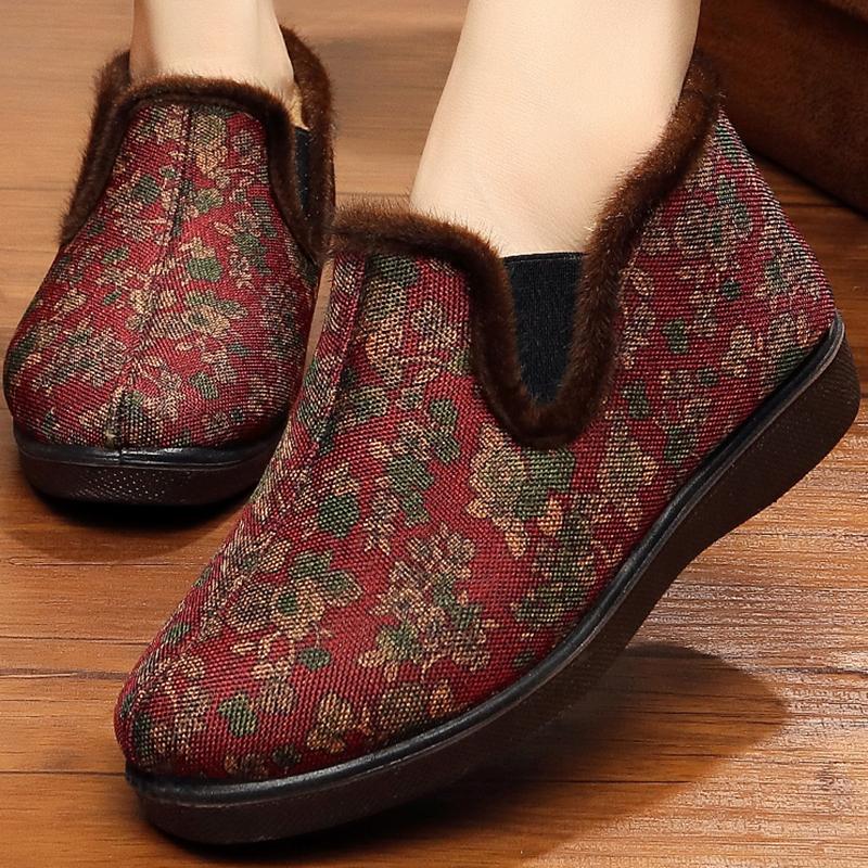 老北京布鞋女棉鞋中老年加绒保暖防滑妈妈鞋冬平底软底老人奶奶鞋5元优惠券