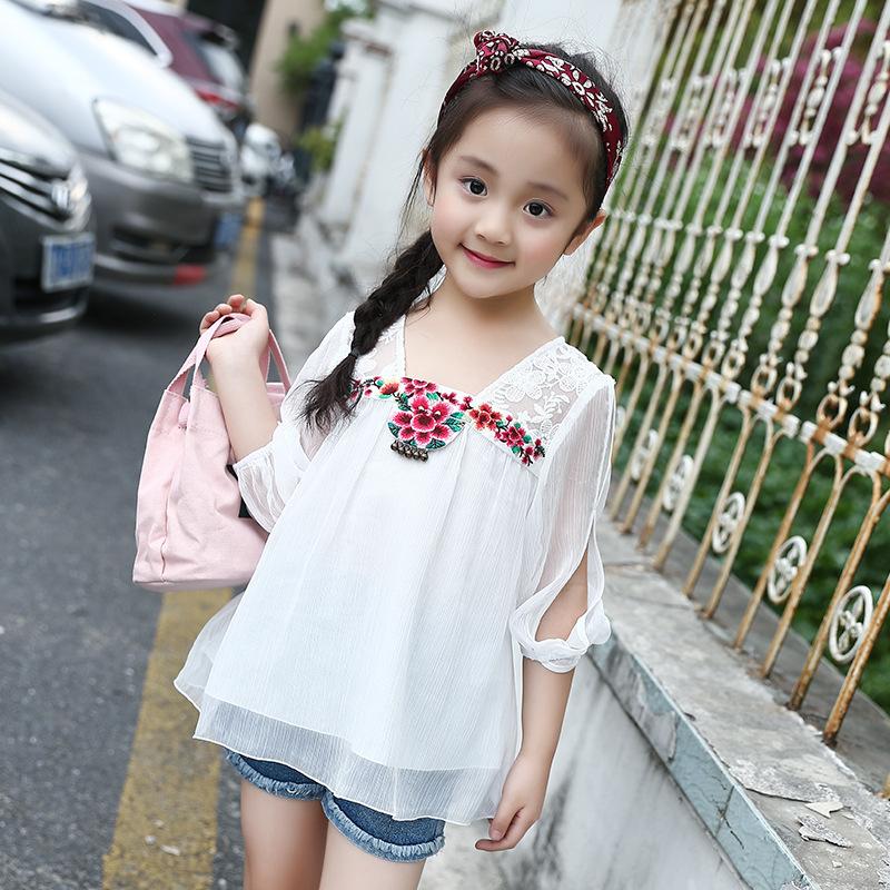 女童雪纺上衣夏季
