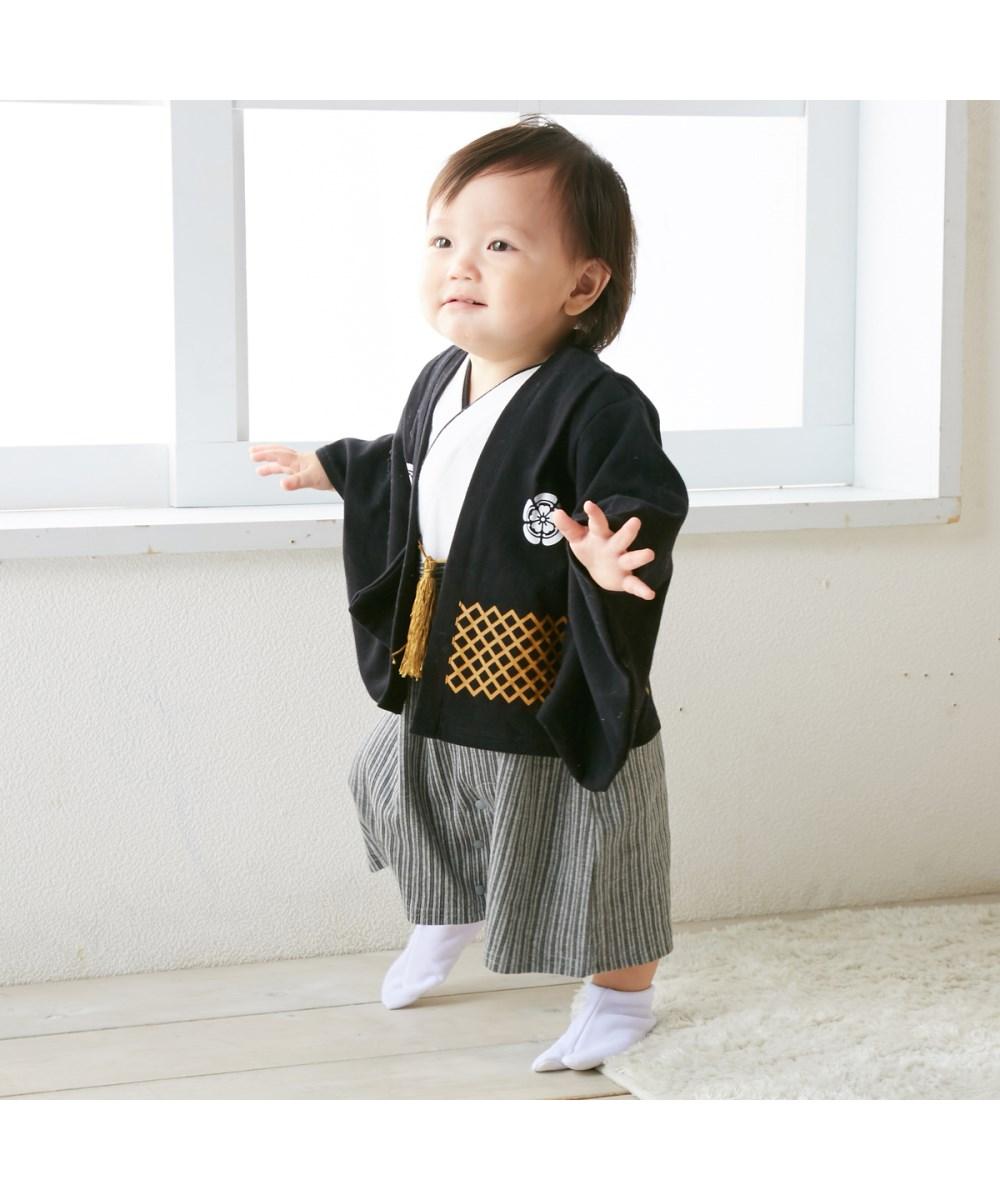 日本购回2019春季新宝宝小童男童童装可爱日式和服哈衣连体衣爬服