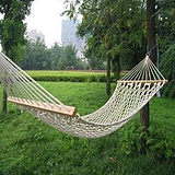 Outdoor hammock high-end camping hammock beach hammock leisure swing cotton rope bold mesh wooden barhambet