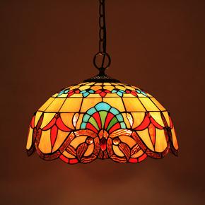 欧式复古蒂凡尼门前阳台吊灯具灯饰走廊过道餐厅客厅彩色玻璃吊灯