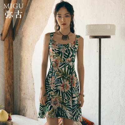 弥古旅游女装海滩度假沙滩裙小个子碎花连衣裙显瘦女夏吊带裙短裙