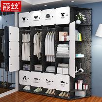 实木简易衣柜简约现代经济型板式衣橱牛津布省布艺布衣柜空间组装