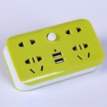 插排插线板一转三四多转换插头USB夜灯带开关无线扩展插座转换器