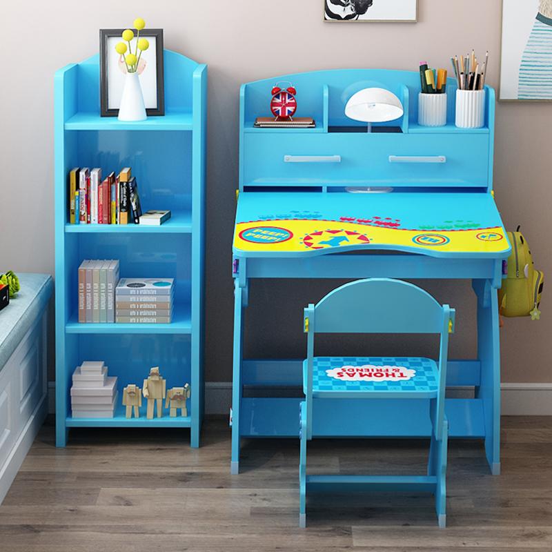 儿童书桌学习桌书柜组合男孩写字桌椅套装可升降小学生课桌写字台