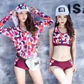 韓版 溫泉 罩衫 防曬顯瘦平角新款 歐鯊游泳衣女三件套分體運動長袖